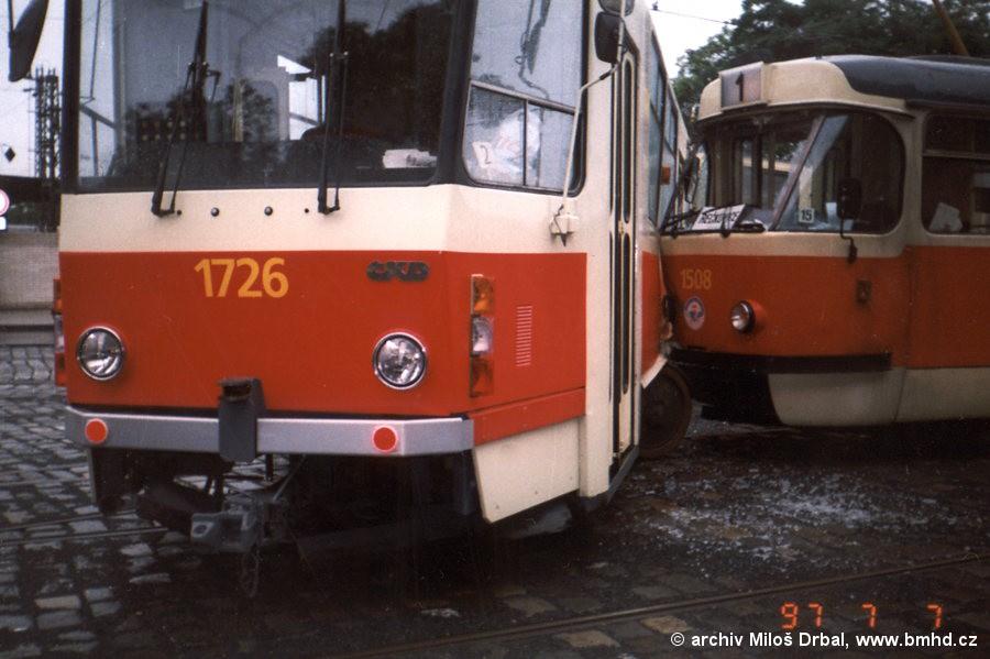 Fotogalerie » ČKD Tatra T3 1508 | ČKD Tatra KT8D5SU 1726 | Brno | střed | Nádražní