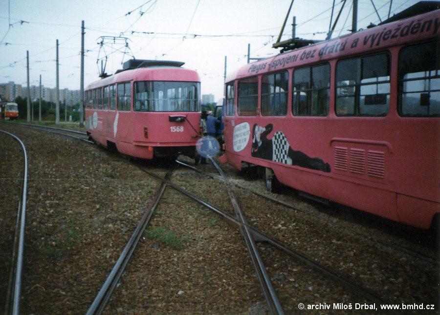 Fotogalerie » ČKD Tatra T3M 1568 | ČKD Tatra T3M 1566 | Brno | Bystrc