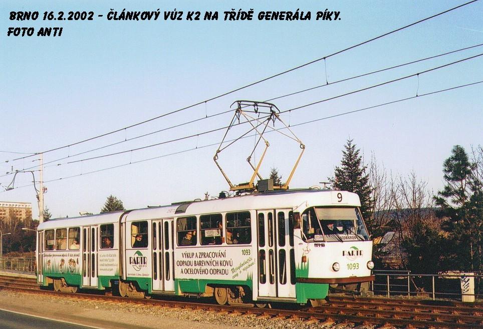 Fotogalerie » ČKD Tatra K2 1093 | Brno | Lesná | třída Generála Píky