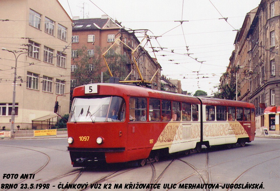 Fotogalerie » ČKD Tatra K2MM 1097 | Brno | Černá Pole | Merhautova