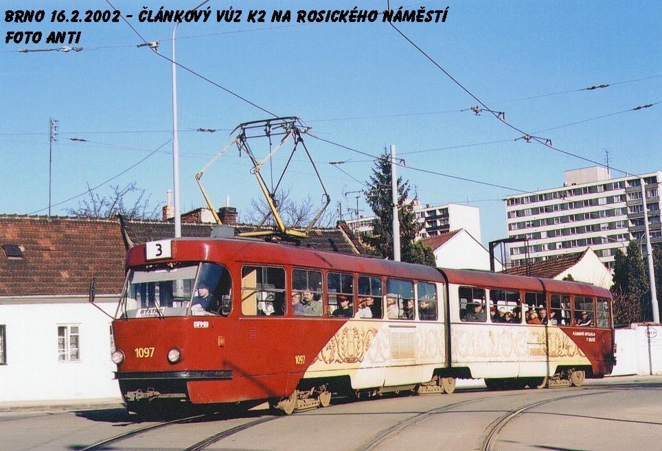 Fotogalerie » ČKD Tatra K2MM 1097 | Brno | Žabovřesky | Rosického náměstí