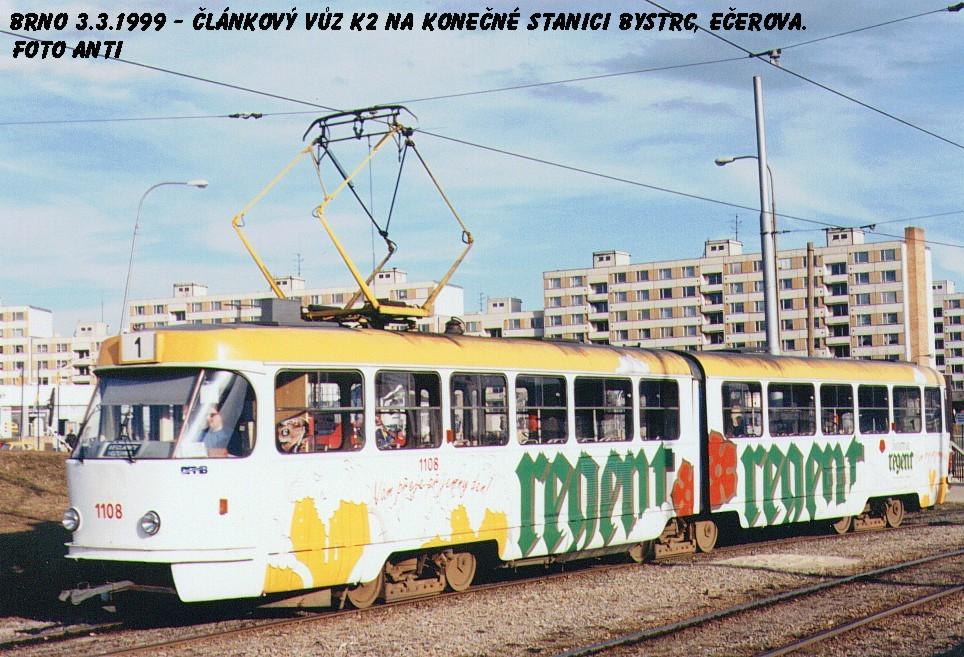 Fotogalerie » ČKD Tatra K2 1108 | Brno | Bystrc | Vejrostova | Ečerova