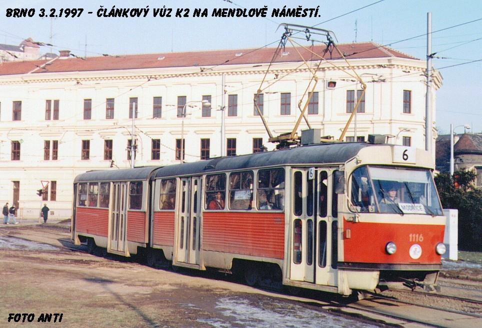 Fotogalerie » ČKD Tatra K2MM 1116 | Brno | Staré Brno | Mendlovo náměstí