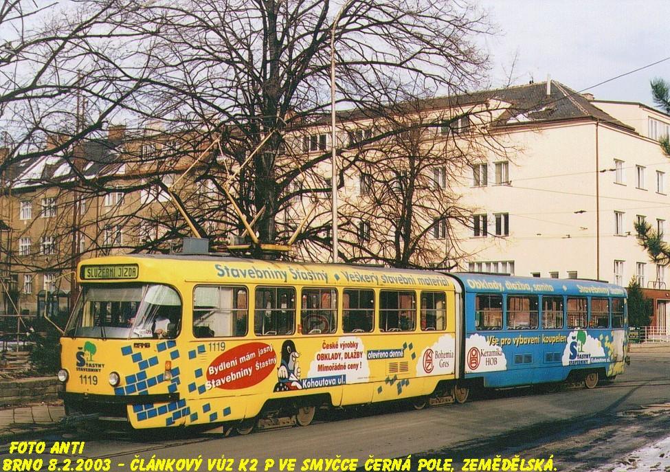 Fotogalerie » ČKD Tatra K2P 1119   Brno   Černá Pole   Zemědělská, smyčka