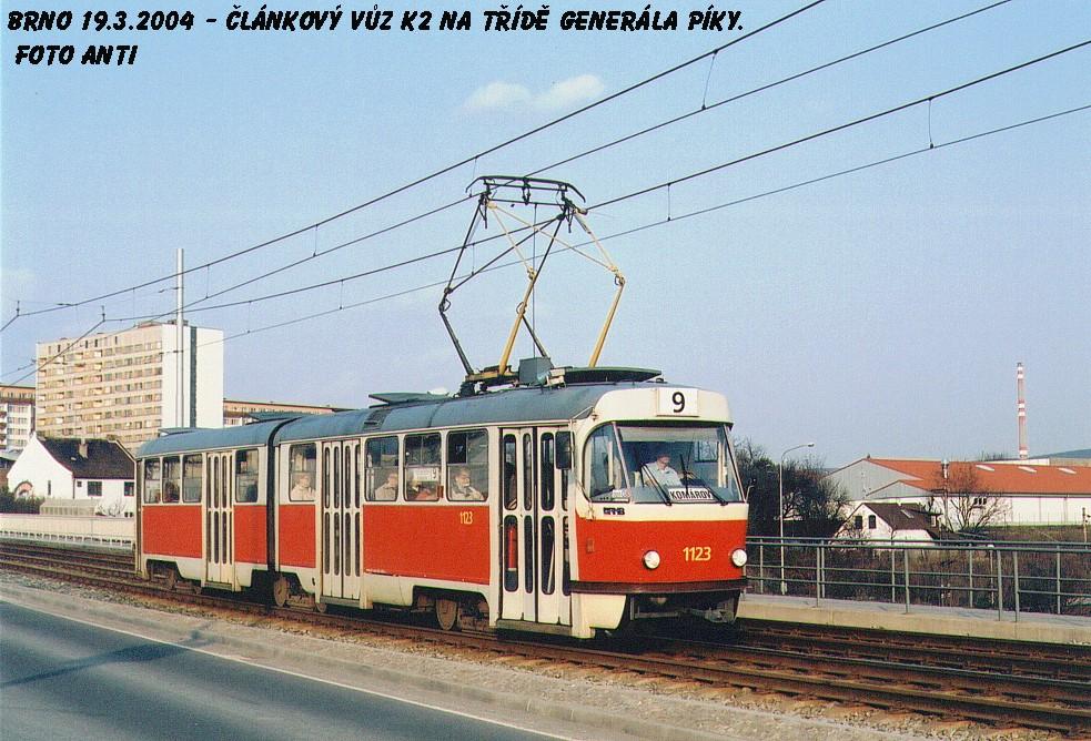 Fotogalerie » ČKD Tatra K2 1123 | Brno | Lesná | třída Generála Píky