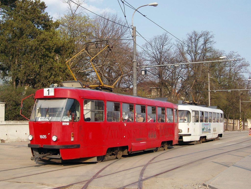 Fotogalerie » ČKD Tatra T3G 1605 | ČKD Tatra T3G 1617 | Brno | Pisárky | Hlinky