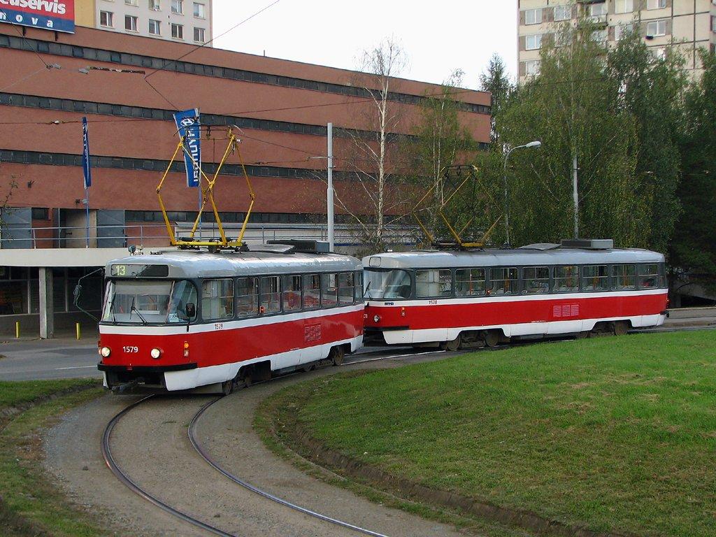 Fotogalerie » ČKD Tatra T3M 1579 | ČKD Tatra T3M 1578 | Brno | Královo Pole | Purkyňova | Technické muzeum, smyčka