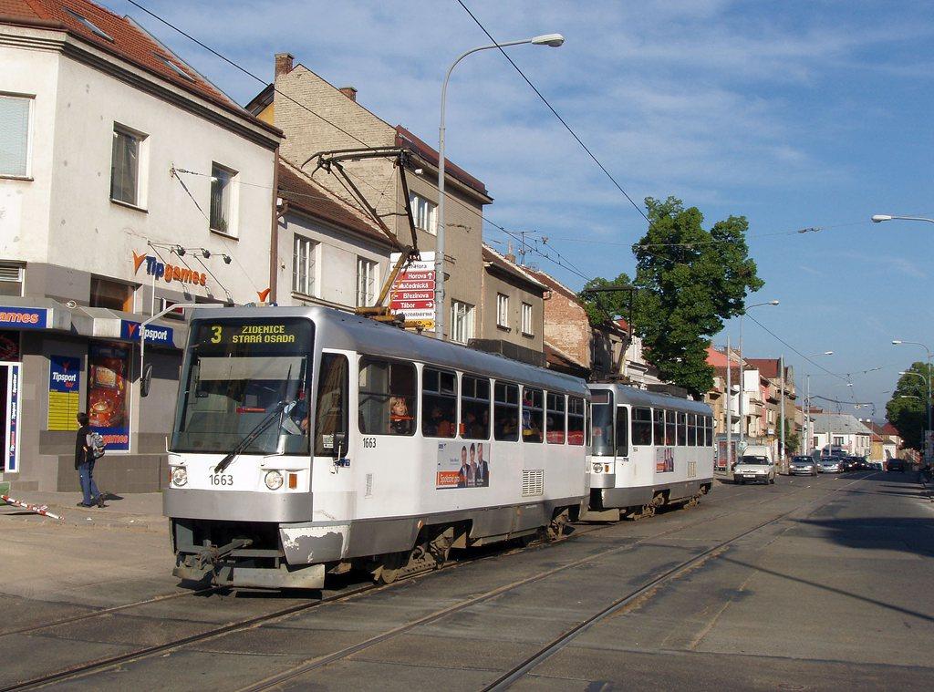 Fotogalerie » ČKD DS T3R 1663 | ČKD DS T3R 1664 | Brno | Žabovřesky | Minská