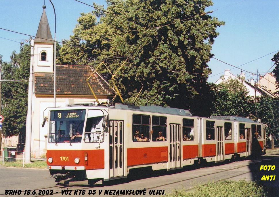 Fotogalerie » ČKD Tatra KT8D5 1701 | Brno | Židenice | Nezamyslova