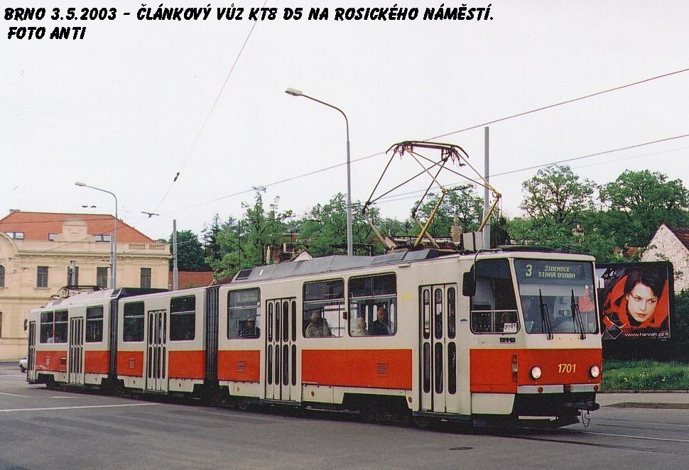 Fotogalerie » ČKD Tatra KT8D5 1701 | Brno | Žabovřesky | Rosického náměstí