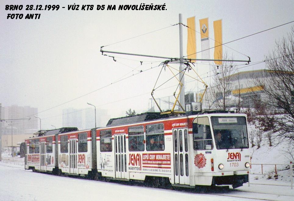 Fotogalerie » ČKD Tatra KT8D5 1703 | Brno | Líšeň | Novolíšeňská