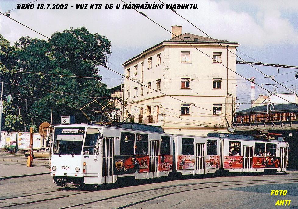 Fotogalerie » ČKD Tatra KT8D5 1704 | Brno | střed | Nádražní