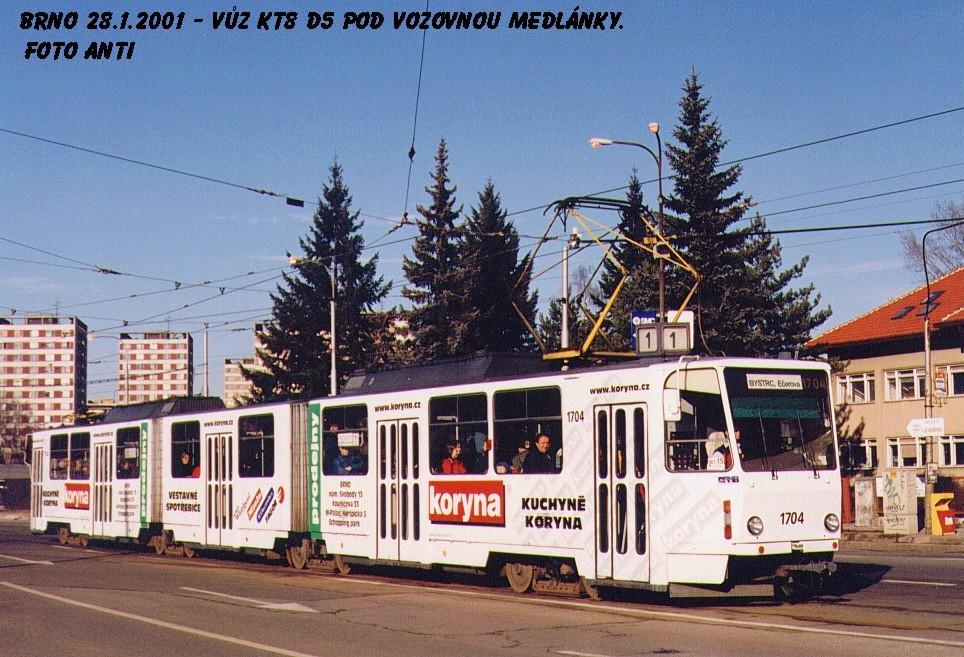 Fotogalerie » ČKD Tatra KT8D5 1704 | Brno | Medlánky | Kuřimská