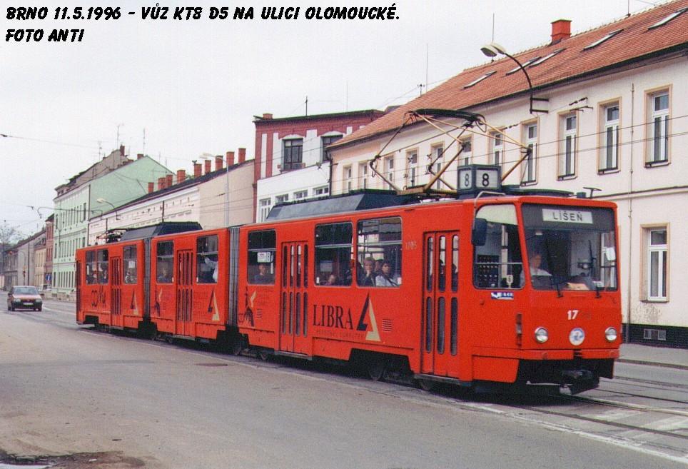 Fotogalerie » ČKD Tatra KT8D5 1705 | Brno | Černovice | Olomoucká