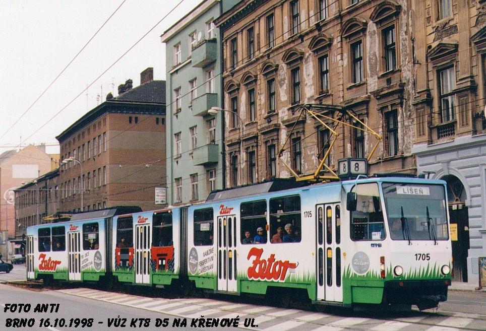 Fotogalerie » ČKD Tatra KT8D5 1705   Brno   Trnitá   Křenová