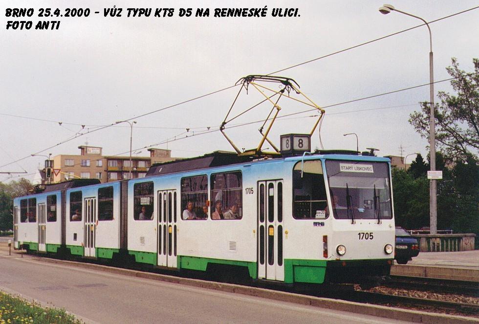 Fotogalerie » ČKD Tatra KT8D5 1705 | Brno | Štýřice | Renneská