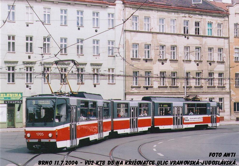 Fotogalerie » ČKD Tatra KT8D5 1705 | Brno | Zábrdovice | Vranovská