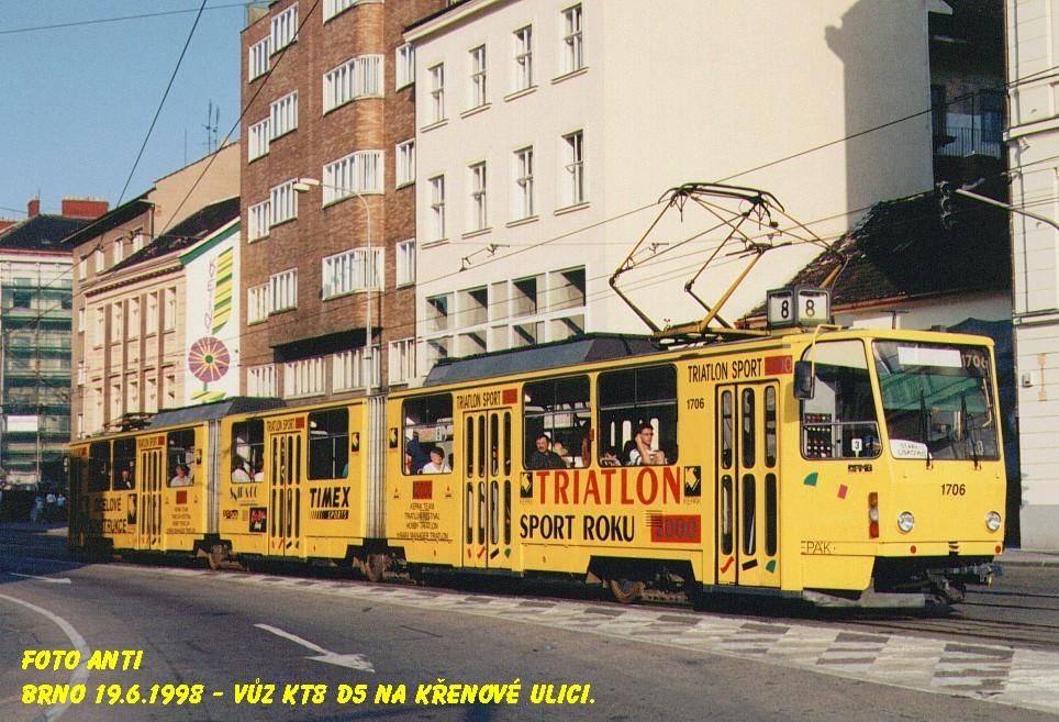 Fotogalerie » ČKD Tatra KT8D5 1706 | Brno | Trnitá | Křenová