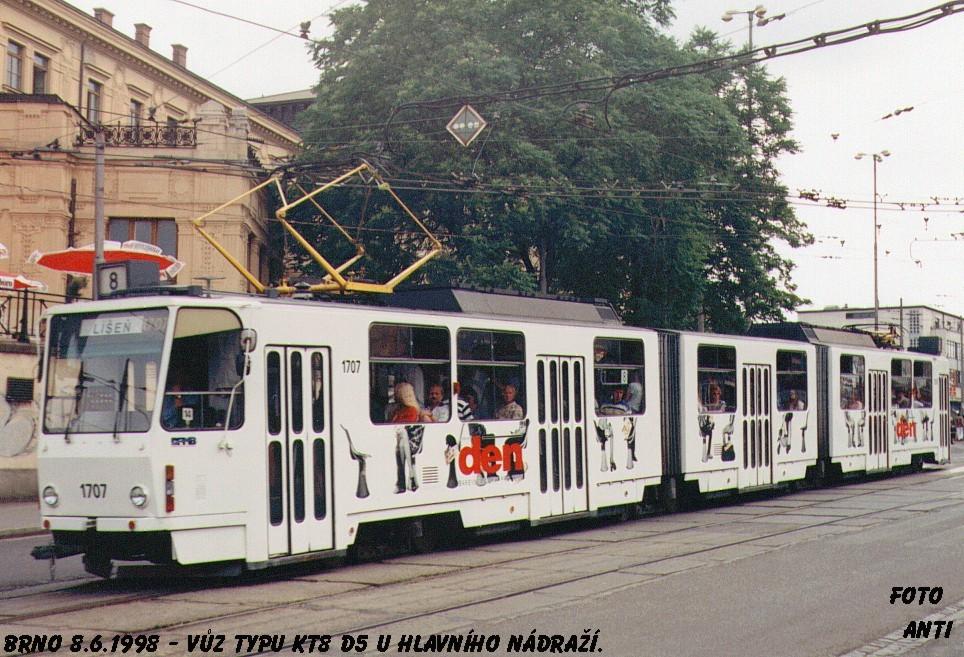 Fotogalerie » ČKD Tatra KT8D5 1707 | Brno | střed | Nádražní