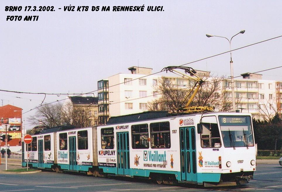 Fotogalerie » ČKD Tatra KT8D5 1707 | Brno | Staré Brno | Poříčí