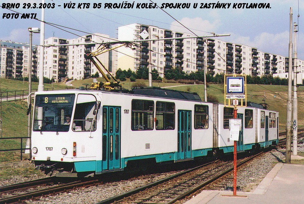 Fotogalerie » ČKD Tatra KT8D5 1707 | Brno | Líšeň | Kotlanova