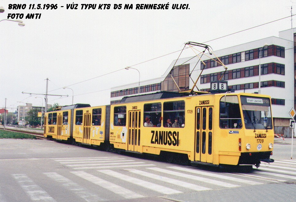 Fotogalerie » ČKD Tatra KT8D5 1709   Brno   Štýřice   Renneská