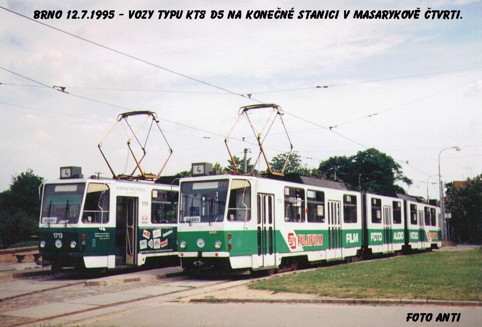 Fotogalerie » ČKD Tatra KT8D5 1713 | ČKD Tatra KT8D5 1718 | Brno | Masarykova čtvrť | náměstí Míru | Náměstí míru, smyčka
