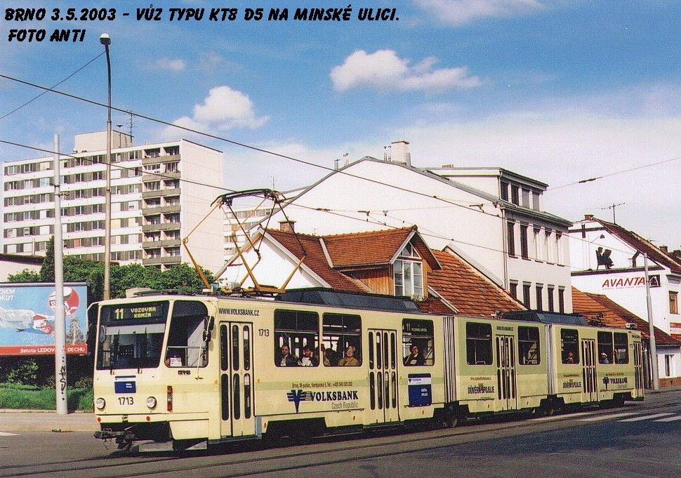 Fotogalerie » ČKD Tatra KT8D5 1713 | Brno | Žabovřesky | Minská
