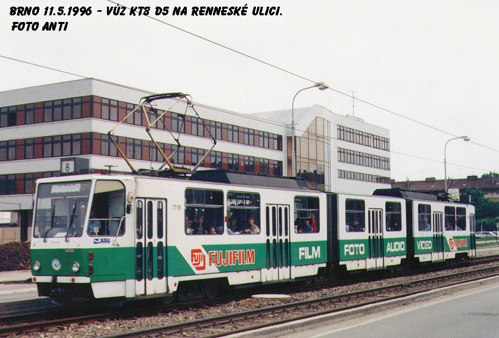 Fotogalerie » ČKD Tatra KT8D5 1718   Brno   Štýřice   Renneská