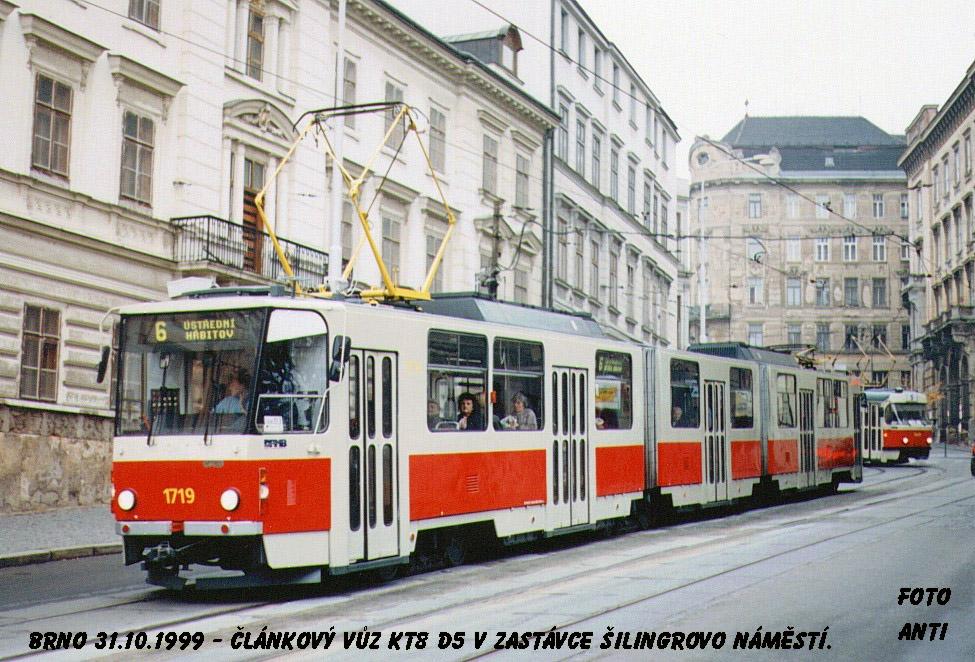 Fotogalerie » ČKD Tatra KT8D5 1719 | Brno | Staré Brno | Pekařská | Šilingrovo náměstí