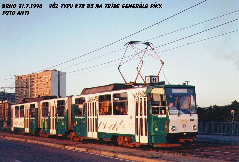 Fotogalerie » ČKD Tatra KT8D5 1723 | Brno | Lesná | třída Generála Píky