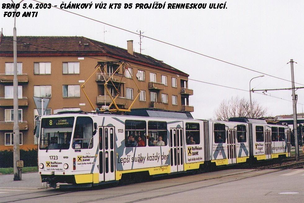 Fotogalerie » ČKD Tatra KT8D5 1723 | Brno | Štýřice | Renneská
