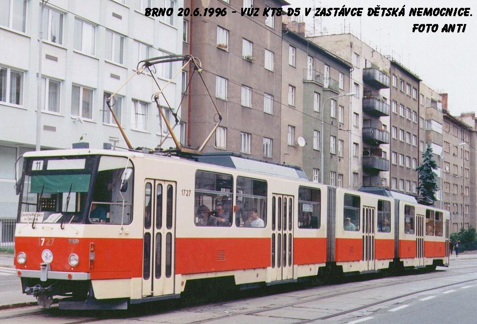 Fotogalerie » ČKD Tatra KT8D5SU 1727 | Brno | Černá Pole | Merhautova | Dětská nemocnice