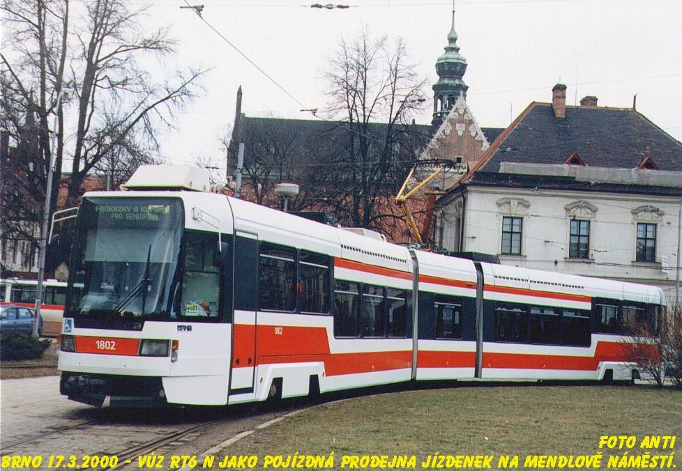 Fotogalerie » ČKD DS RT6N1 1802   Brno   Staré Brno   Mendlovo náměstí   Mendlovo náměstí, smyčka