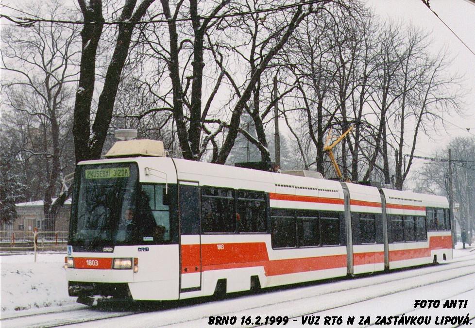 Fotogalerie » ČKD DS RT6N1 1803 | Brno | Pisárky | Hlinky | Lipová