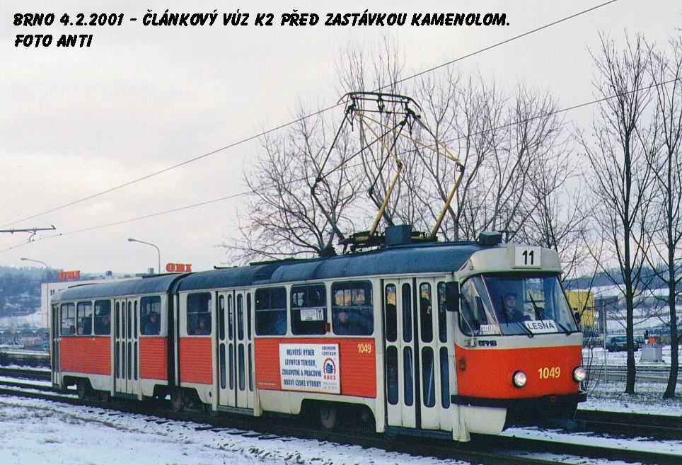 Fotogalerie » ČKD Tatra K2MM 1049   Brno   Komín   Kníničská