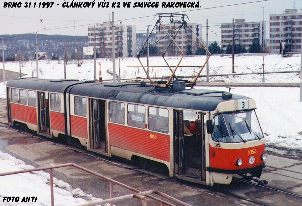Fotogalerie » ČKD Tatra K2MM 1054   Brno   Bystrc   Rakovecká