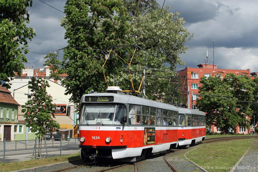 Fotogalerie » ČKD Tatra T3G 1634 | ČKD Tatra T3G 1616 | Brno | Pisárky | Hlinky