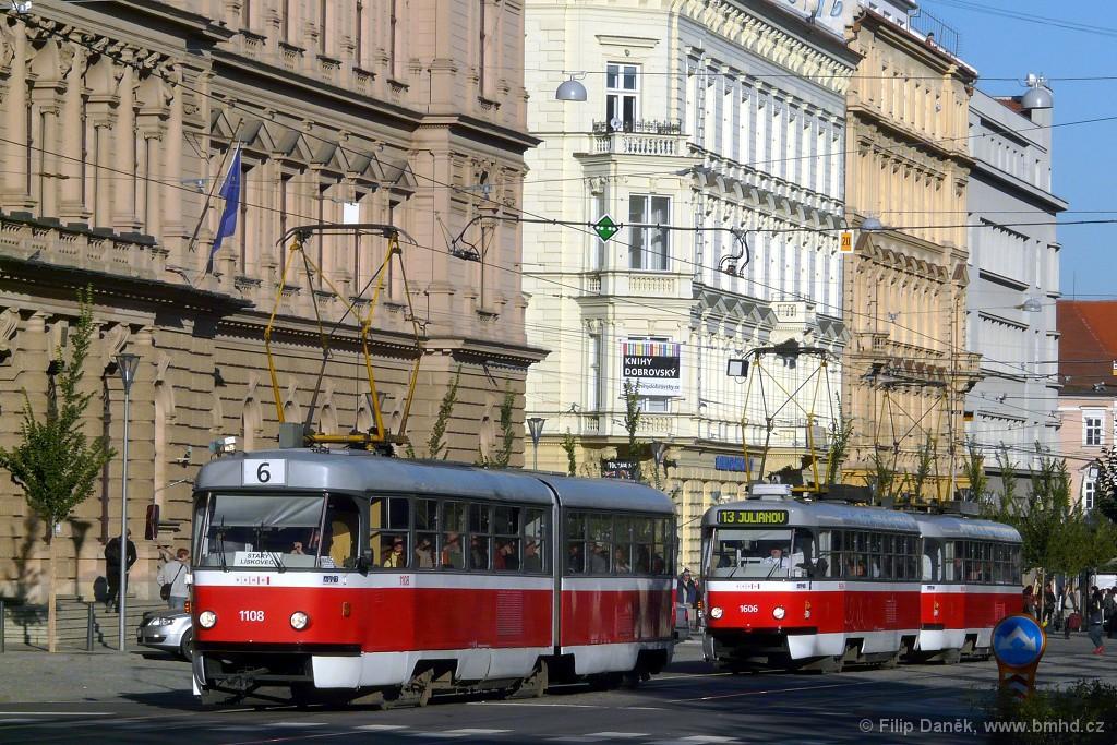 Fotogalerie » ČKD Tatra K2 1108   ČKD Tatra T3G 1606   ČKD Tatra T3G 1608   Brno   střed   Joštova