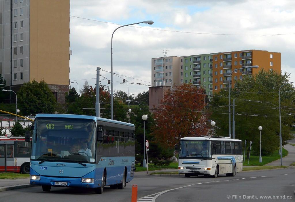 Fotogalerie » Irisbus Crossway LE 12M 6B0 3016 | Karosa C954.1360 1B9 0251 | Brno | Starý Lískovec | Osová