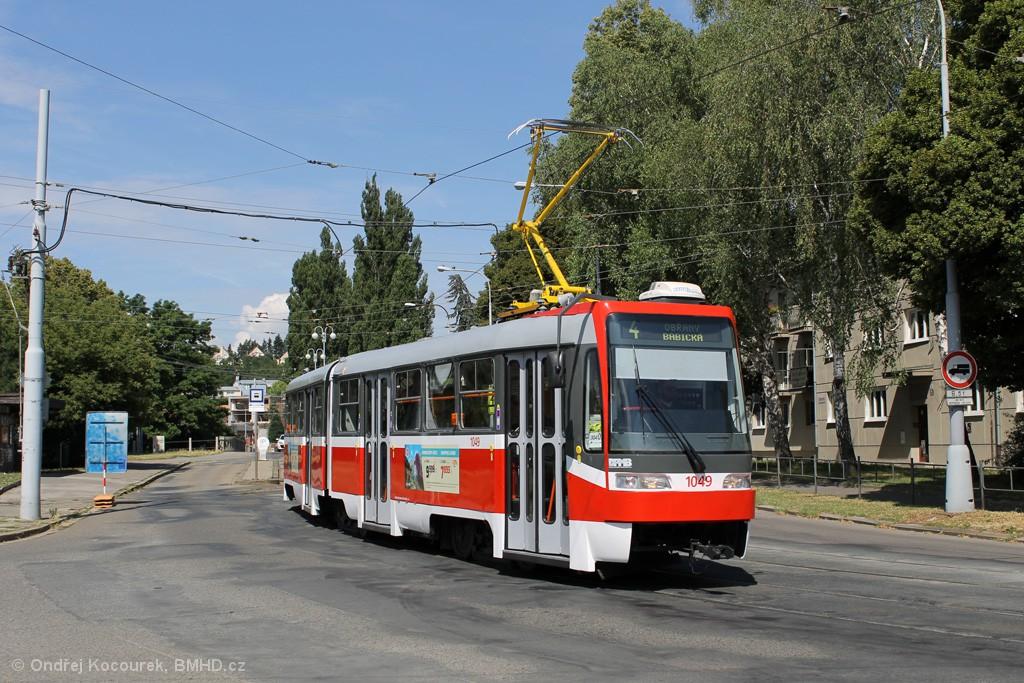 Fotogalerie » ČKD Tatra K2R03-P 1049 | Brno | Maloměřice | Dolnopolní | Maloměřický most