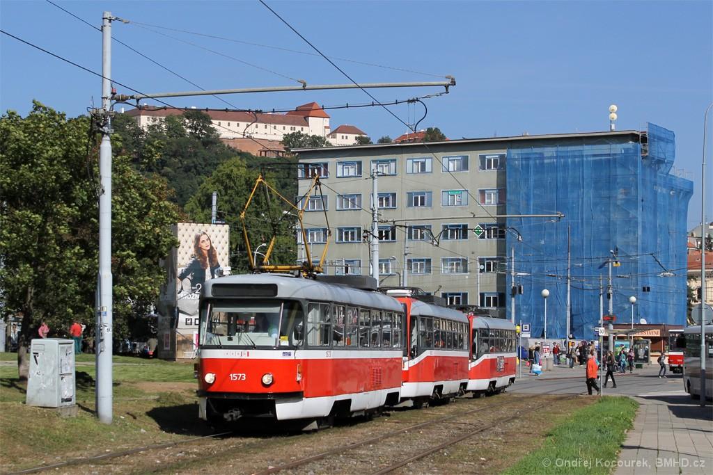 Fotogalerie » ČKD Tatra T3M 1573 | ČKD DS T3R 1665 | ČKD DS T3R 1666 | Brno | Staré Brno