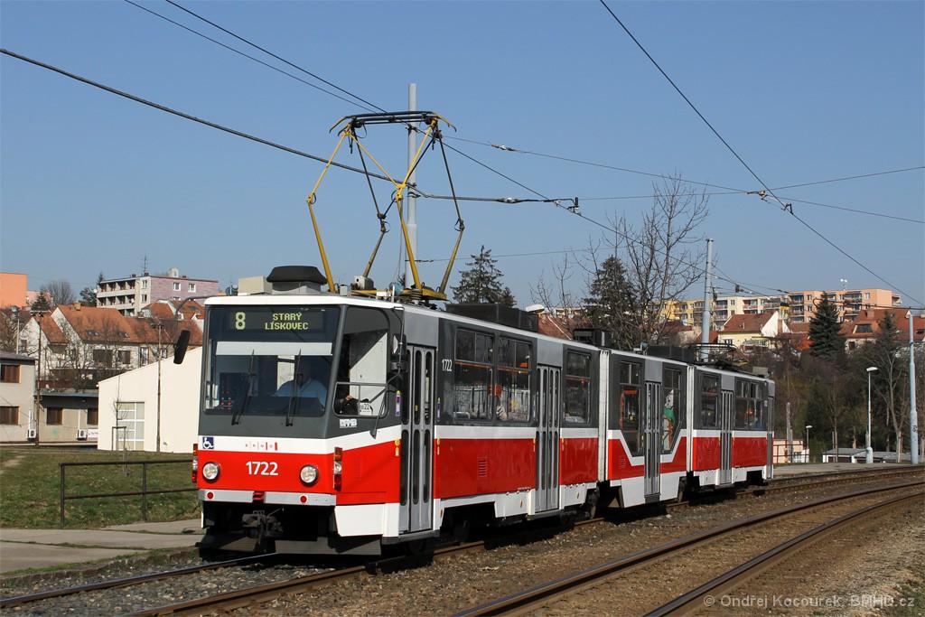 Fotogalerie » ČKD Tatra KT8D5R.N2 1722 | Brno | Bohunice