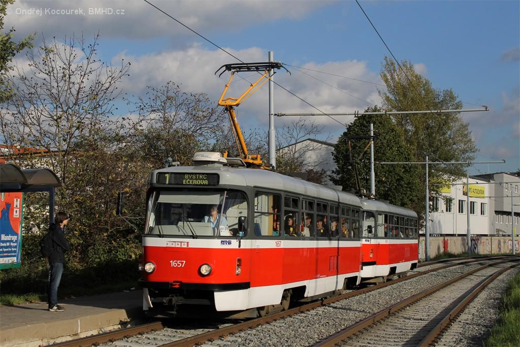 Fotogalerie » Pragoimex T3R.PV 1657 | ČKD Tatra T3P 1589 | Brno | Žabovřesky | Kníničská | Stránského