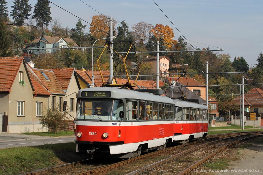 Fotogalerie » ČKD Tatra T3M 1584   ČKD Tatra T3M 1592   Brno   Komín   Bystrcká
