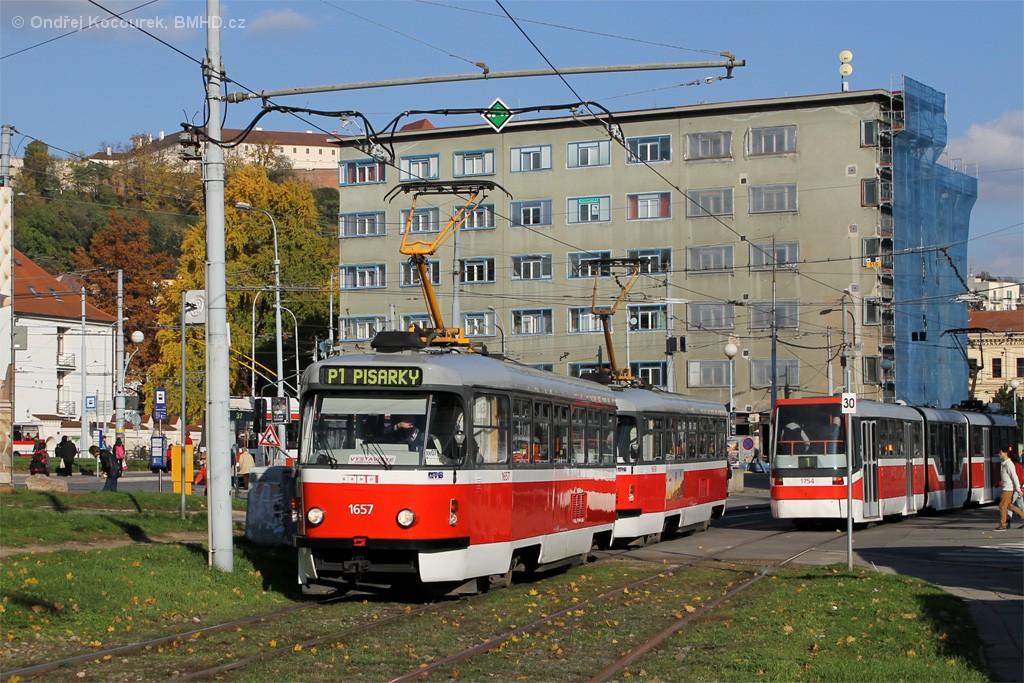 Fotogalerie » Pragoimex T3R.PV 1657 | Pragoimex T3R.PV 1658 | Pars Nova K3R-N 1754 | Brno | Staré Brno | Veletržní