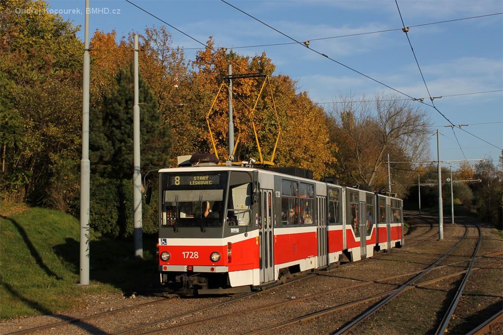 Fotogalerie » ČKD Tatra KT8D5R.N2 1728 | Brno | Židenice | Ostravská