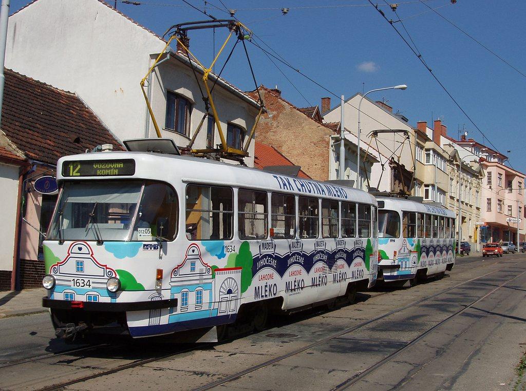 Fotogalerie » ČKD Tatra T3G 1634 | ČKD Tatra T3G 1616 | Brno | Žabovřesky | Minská