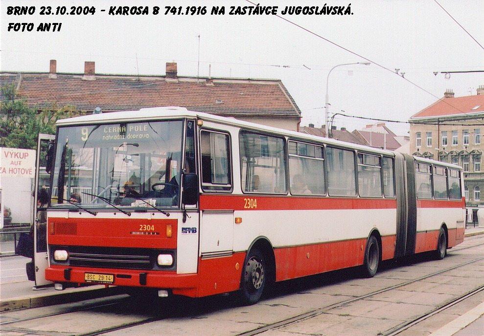 Fotogalerie » Karosa B741.1916 2304 | Brno | Černá Pole | Jugoslávská | Jugoslávská