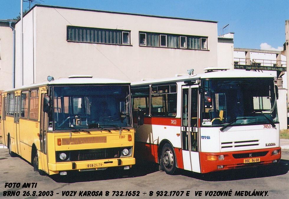Fotogalerie » Karosa B732.1652 7287 | Karosa B931E.1707 7453 | Brno | vozovna Medlánky